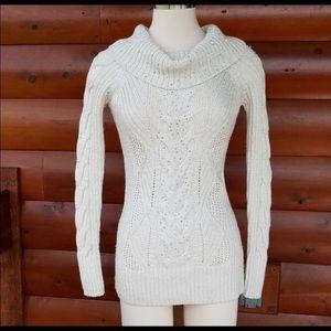 White House Black Market WHBM cowl sequin sweater